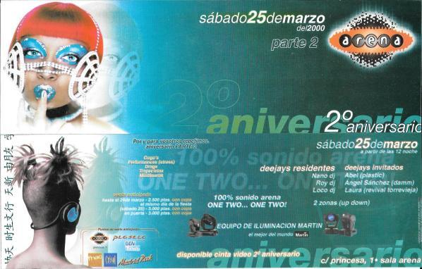 Arena - Segundo Aniversario - Sabado 25 Marzo